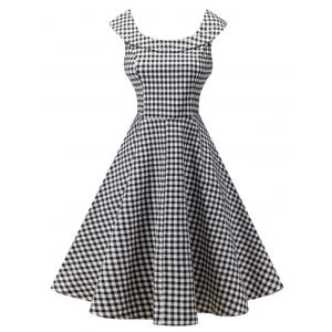 Plaid Knee Length Pin Up Dress - Black White - M