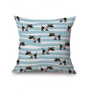 Dog Stripe Print Linen Office Chair Sofa Pillow Case