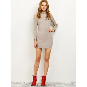 High Neck Cold Shoulder Fitted Sweater Dress - GRAY 2XL