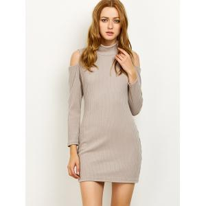 High Neck Cold Shoulder Fitted Sweater Dress -