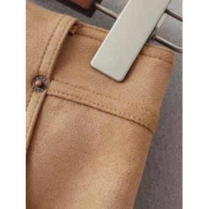 Front Pockets Suede A Line Skirt - OLIVE GREEN S