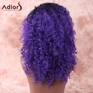 Medium Black Mixed Purple Afro Curly Side Parting Synthetic Wig - COLORMIX