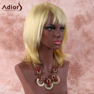 Layered Short Golden Colormix Straight Side Bang Faddish Synthetic Hair Wig -