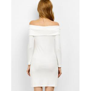 Off the Shoulder Bodycon Long Sleeve Mini Dress - WHITE M