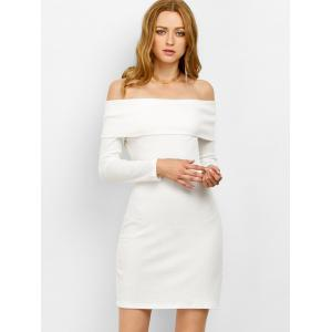 Off the Shoulder Bodycon Long Sleeve Party Mini Dress - WHITE M