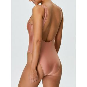 Backless High Cut One Piece Swimwear - PINK M