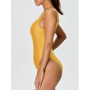 Backless High Cut One Piece Swimwear - YELLOW L