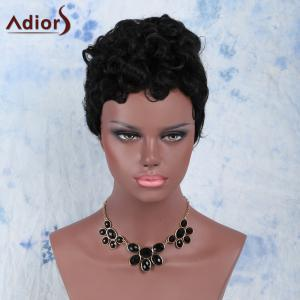 Fashion Short Black Fluffy Curly Synthetic Wig - BLACK