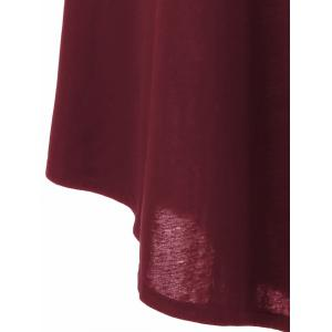 Asymmetrical Long Sleeved Tee Shirt Maxi Dress - DEEP RED 5XL