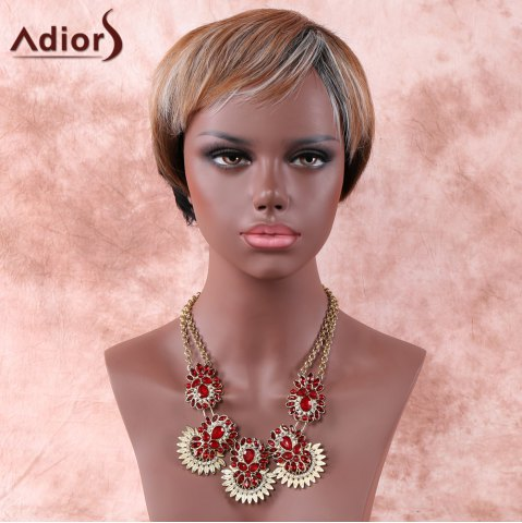 Buy Mixed Color Fashion Short Fluffy Full Bang Adiors Synthetic Hair Wig For Women COLORMIX