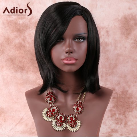 Hot Medium Side Parting Layered Straight Dark Brown Women's Faddish Adiors Synthetic Hair Wig BLACK BROWN
