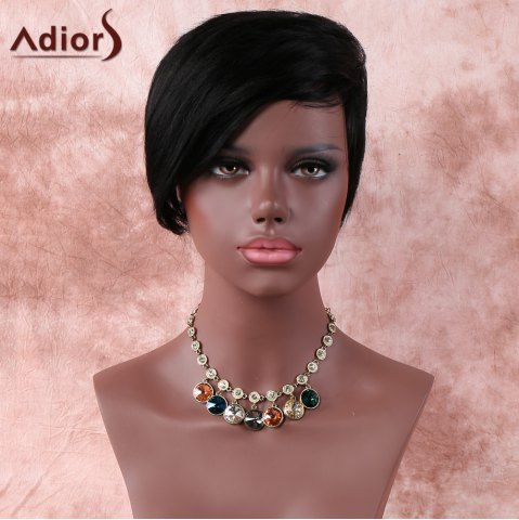 Cheap Natural Black Fashion Short Straight Side Parting Synthetic Wig For Women BLACK