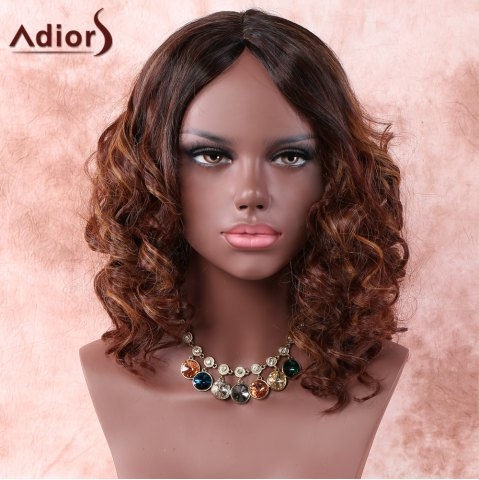 Discount Medium Side Parting Ombre Curly Synthetic Wig COLORMIX