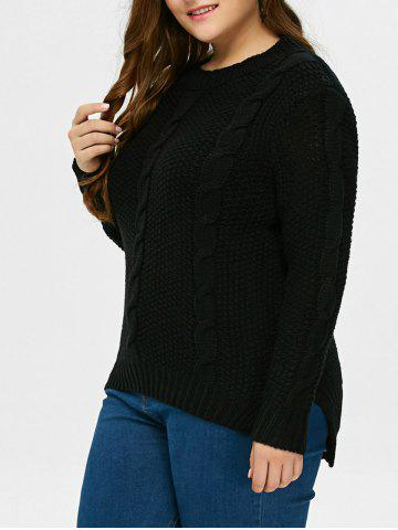 Cheap High Low Hem Cable Knit Sweater