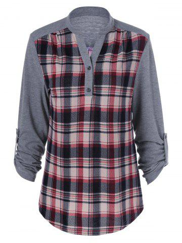 Fashion Plus Size Split-Neck Plaid Trim Blouse - 2XL GRAY Mobile