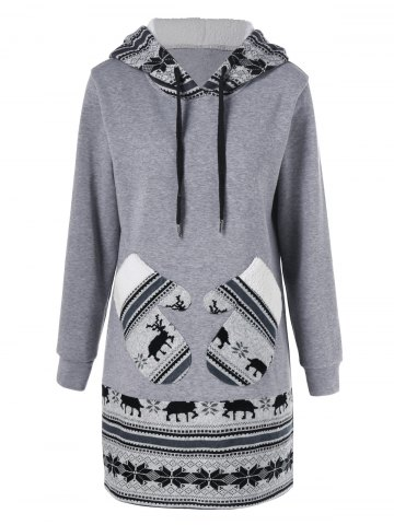 Shop Christmas Pullover Hoodie With Reindeer Patterned