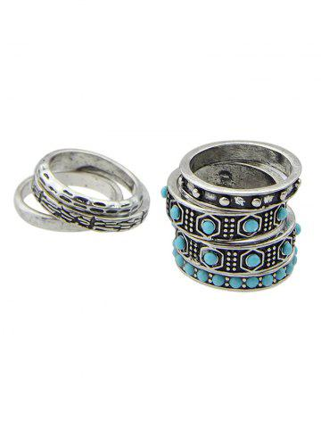 Discount Boho Style Faux Turquoise Rings Set SILVER