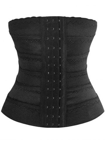 Chic Stretchy Lace Panel Corset Training - 2XL BLACK Mobile