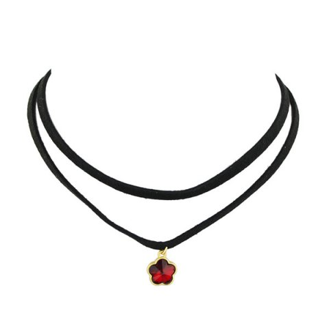 Trendy Floral Layered Choker Necklace RED