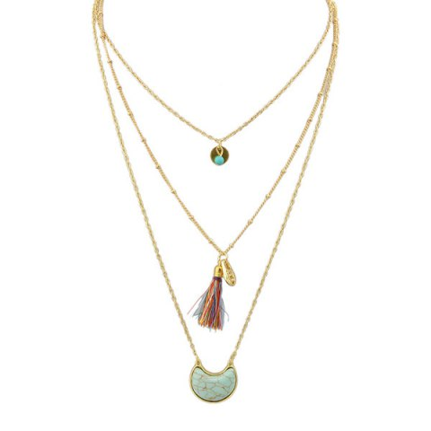 Affordable Faux Turquoise Moon Tassel Layered Necklace