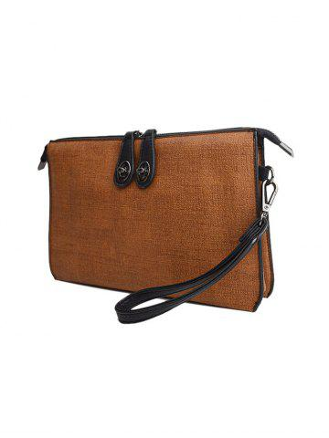 New Textured Leather Twist-Lock Zipper Clutch Bag - BROWN  Mobile