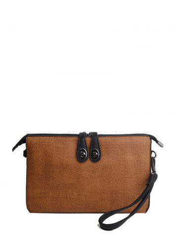 Affordable Textured Leather Twist-Lock Zipper Clutch Bag BROWN