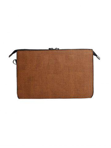Buy Textured Leather Twist-Lock Zipper Clutch Bag - BROWN  Mobile