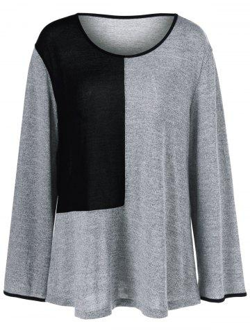 Fancy Plus Size Color Block Smock T-Shirt BLACK AND GREY XL