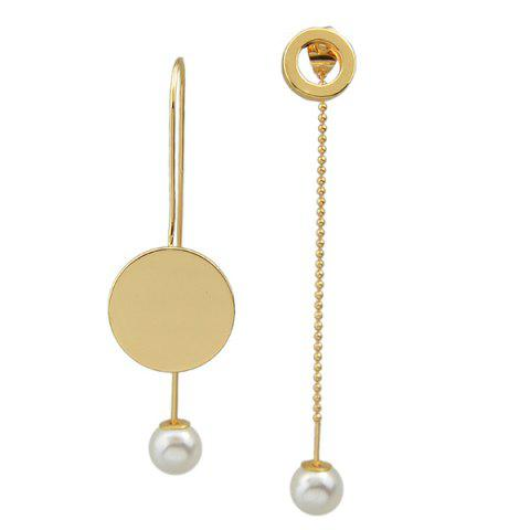 Online Circle Faux Pearl Dissymmetry Drop Earrings YELLOW