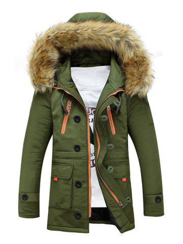Shop Faux Fur Hooded Zip Up Multi-Pocket Padded Coat - M ARMY GREEN Mobile