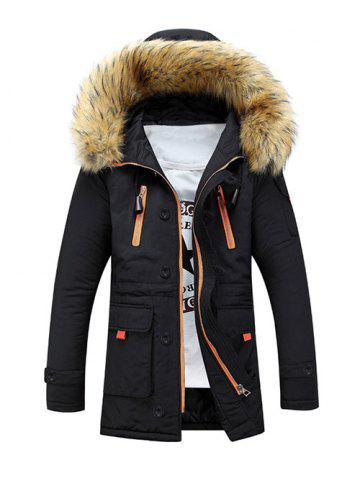 Outfits Faux Fur Hooded Zip Up Multi-Pocket Padded Coat - M BLACK Mobile