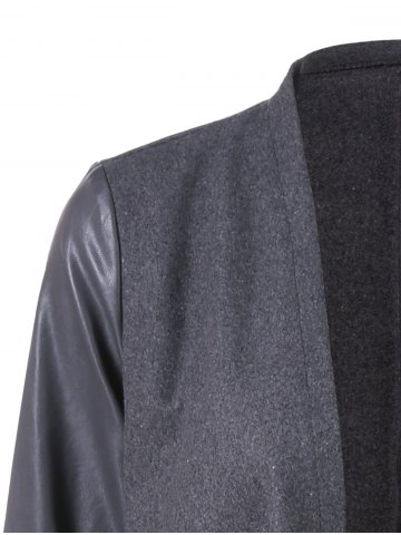 Chic Asymmetrical PU Leather Sleeve Coat - 2XL GRAY Mobile