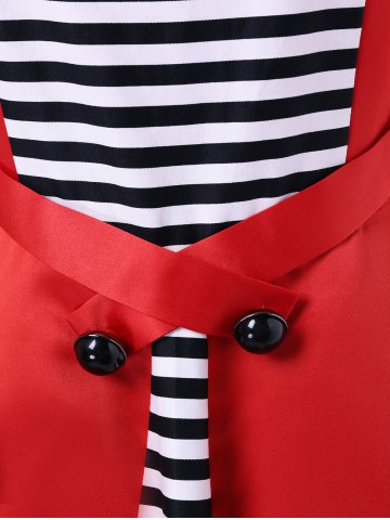 Buy Midi Vintage Dress With Striped - M RED Mobile