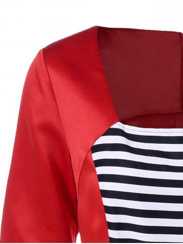 Discount Midi Vintage Dress With Striped - L RED Mobile