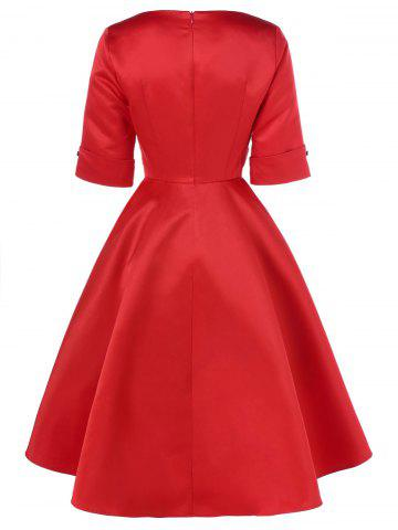 Chic Midi Vintage Dress With Striped - L RED Mobile