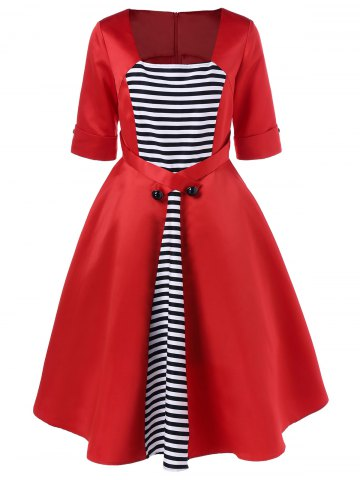 Chic Midi Vintage Dress With Striped - XL RED Mobile