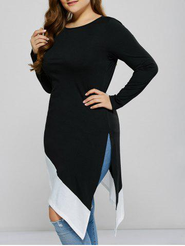 Outfit Asymmetrical Side Slit Plus Size Tee BLACK 2XL