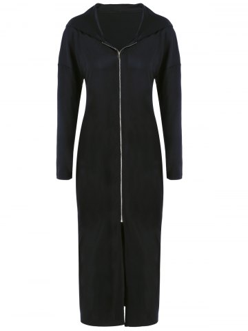 New Plus Size Zip Front Bodycon Hooded Dress with Long Sleeves