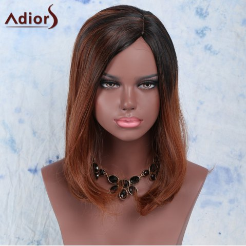 Trendy Fluffy Side Bang High Temperature Fiber Women's Wig BLACK AND BROWN