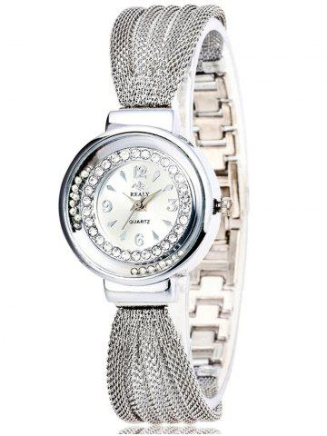 Rhinestone Beads Stainless Steel Bracelet Watch - Silver