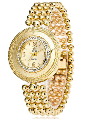 Best Big Dial Plate Beaded Bracelet Watch