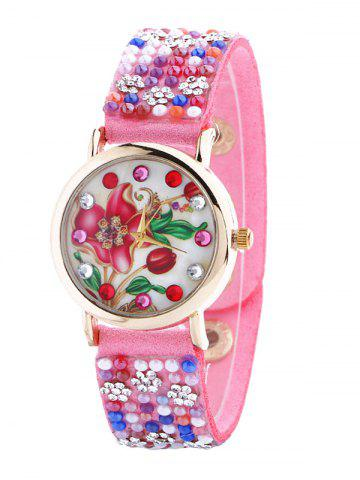 Outfits Artificial Leather Rhinestone Flower Watch