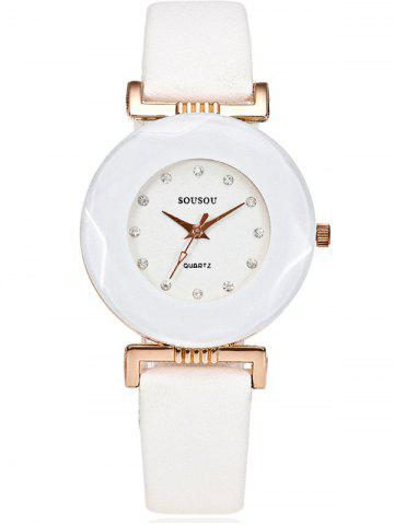 Outfits PU Leather Rhinestone Casual Watch WHITE