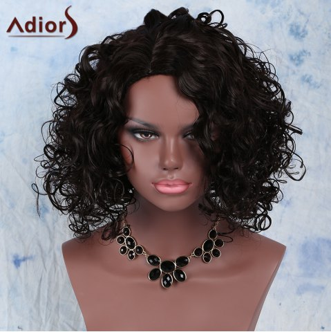 Outfits Stunning Afro Curly Synthetic Dark Brown Medium Capless Wig For Women DEEP BROWN
