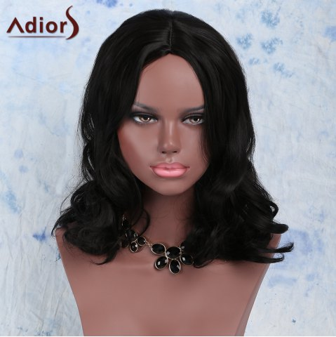 Latest Elegant Synthetic Medium Fluffy  Wavy Black Wig For Women BLACK