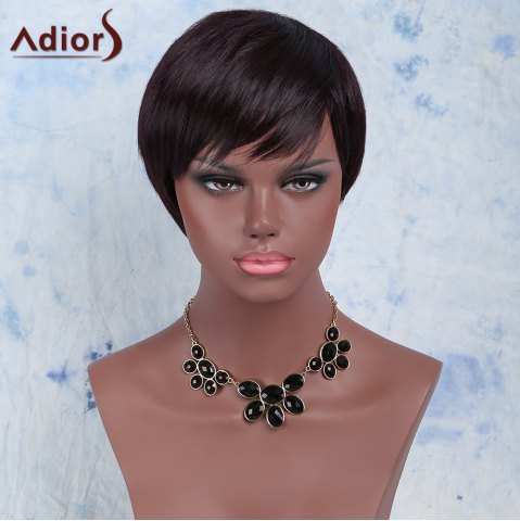 Sale Temperament Synthetic Dark Red Short Side Bang Wig For Women DARK RED