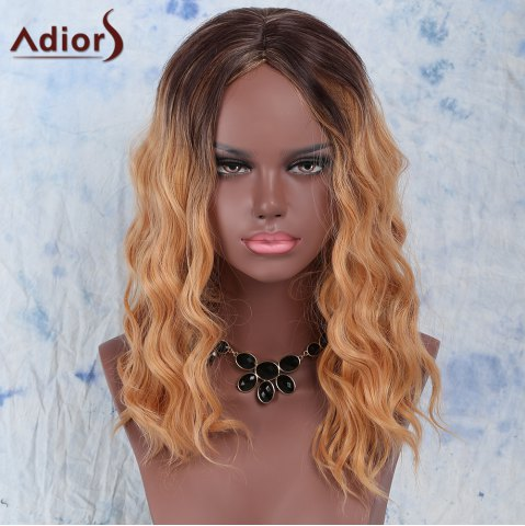 Store Trendy Synthetic Medium Curly Gold Blend Centre Parting Wig For Women COLORMIX
