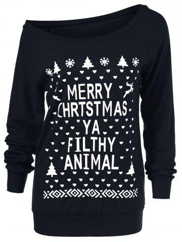 Trendy Christmas Tree Skew Collar Sweatshirt BLACK XL