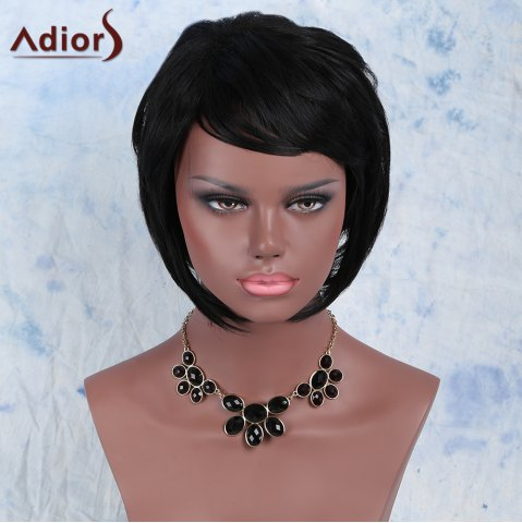 Buy Black Side Bang Short Fluffy Faddish Women's Synthetic Hair Wig BLACK