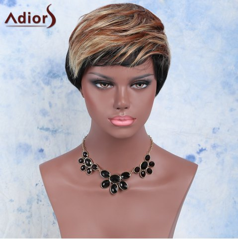 Store Mixed Color Short Fluffy Full Bang Fashion Women's Adiors Synthetic Hair Wig COLORMIX